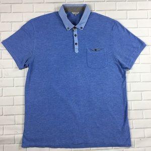 Ted Baker Polo Shirt Blue Modal Blend Sz 5 US L